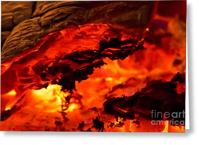 Embers Greeting Cards - Glowing Ash Greeting Card by Michal Boubin