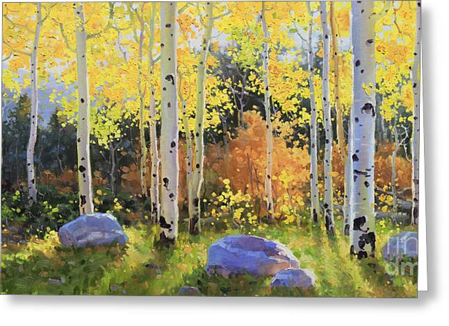 Outdoor Paintings Greeting Cards - Glowing Aspen  Greeting Card by Gary Kim