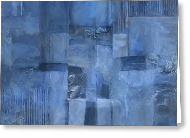 Glowing Blues Greeting Card by Lee Ann Asch