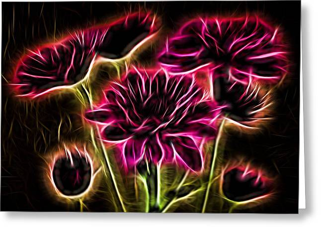 Glowing Bouquet Greeting Card by Judy Vincent