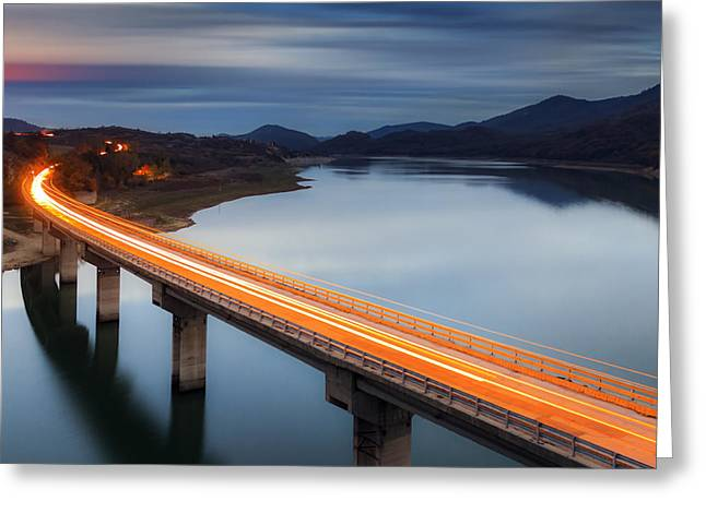 Road Greeting Cards - Glowing Bridge Greeting Card by Evgeni Dinev