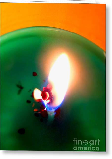 Justin Moore Greeting Cards - Glowing Candle Wick Greeting Card by Justin Moore
