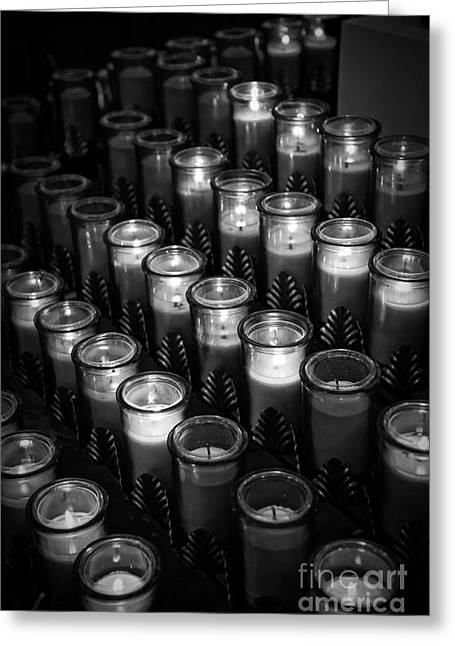 Wick Greeting Cards - Glowing candles in a church Greeting Card by Edward Fielding