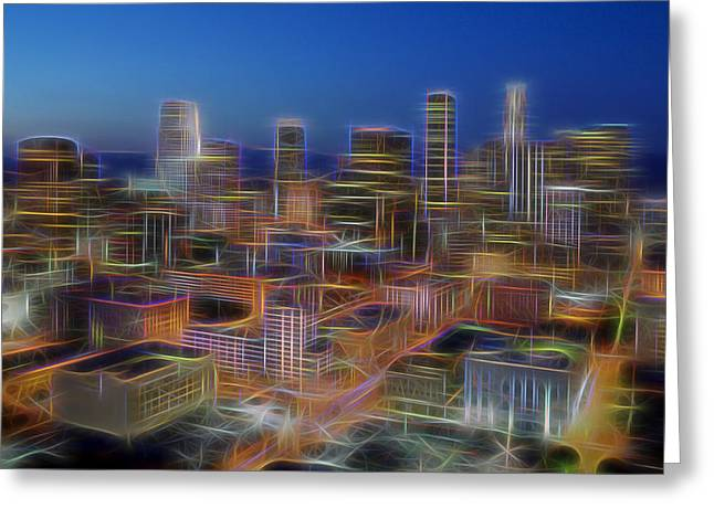 Night Angel Greeting Cards - Glowing City Greeting Card by Kelley King