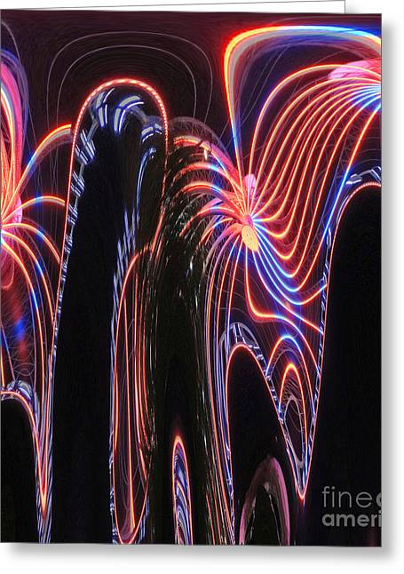 Glowing Curves Greeting Card by Marian Bell