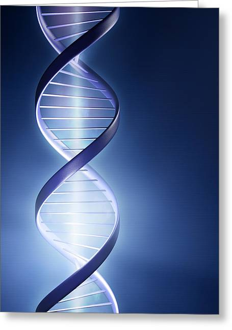 Light Rays Greeting Cards - Glowing DNA strand Greeting Card by Johan Swanepoel