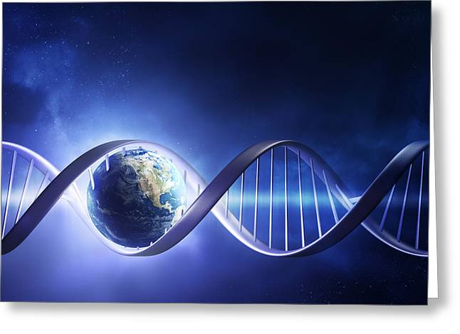 Light Rays Greeting Cards - Glowing earth DNA strand Greeting Card by Johan Swanepoel