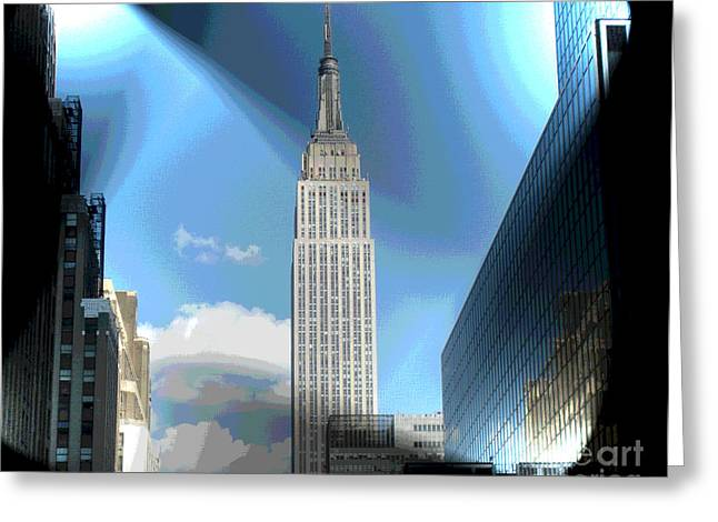 Vertigo Digital Art Greeting Cards - Glowing Empire State Building Greeting Card by Luther   Fine Art