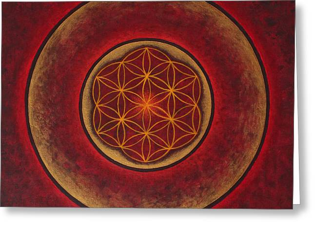 Flower Of Life Greeting Cards - Glowing Greeting Card by Erik Grind