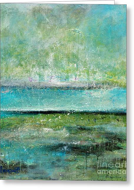 Abstract Seascape Mixed Media Greeting Cards - Glowing Even When its Raining Greeting Card by Johane Amirault