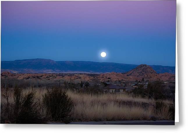 Watson Lake Greeting Cards - Glowing Full Moon Greeting Card by Phyllis Bradd