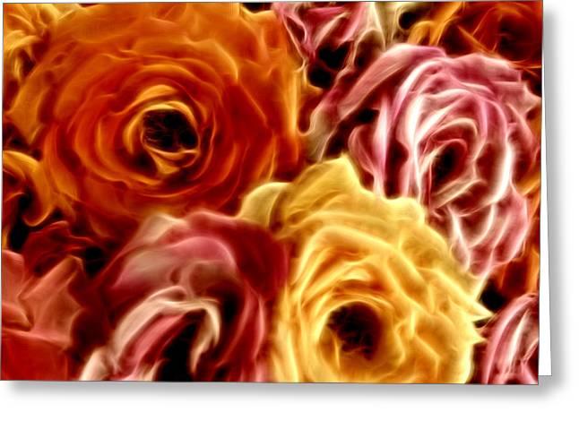 Warm Tones Digital Art Greeting Cards - Glowing Full Roses Greeting Card by Linda Phelps