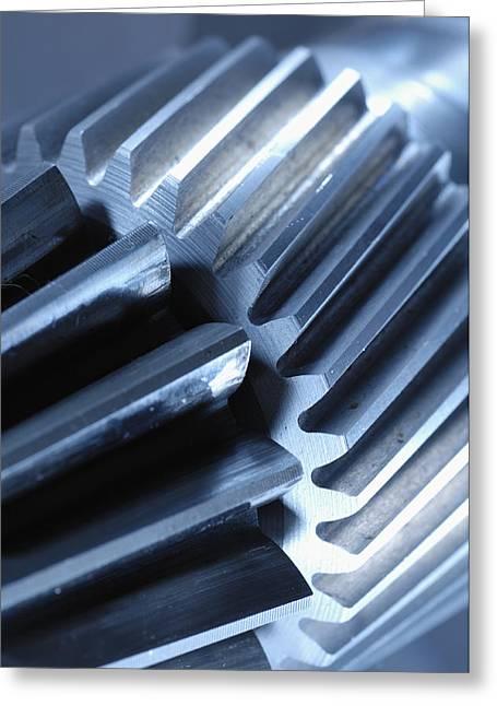 Stainless Steel Greeting Cards - Glowing Gears Cogwheels Greeting Card by Christian Lagereek