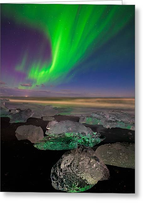Light Pollution Greeting Cards - Glowing Gems Of Iceland Greeting Card by Mike Berenson