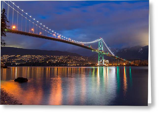 Burrard Inlet Greeting Cards - Glowing Grouse Mountain Greeting Card by James Wheeler