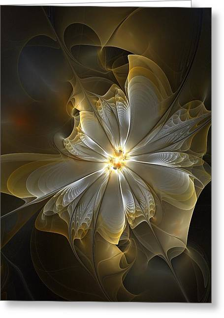 Flowers Digital Art Greeting Cards - Glowing in Silver and Gold Greeting Card by Amanda Moore