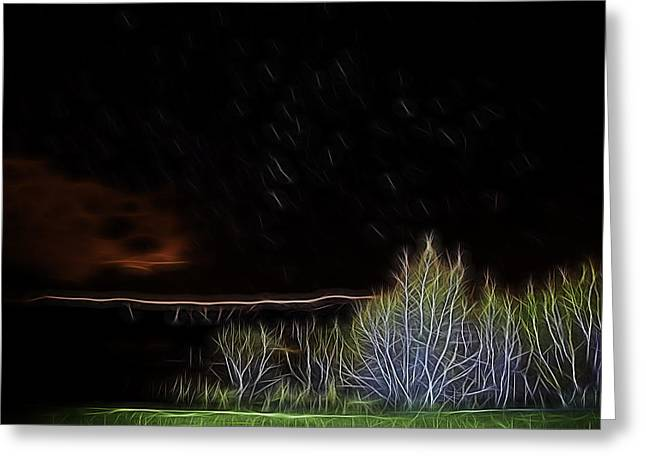 Christmas Eve Greeting Cards - Glowing in the Dark Greeting Card by Maria Coulson