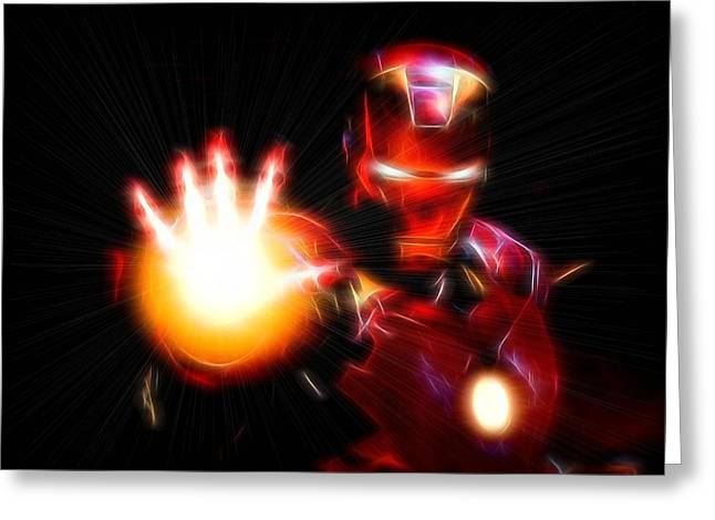 Iron Greeting Cards - Glowing Iron Man Greeting Card by Dan Sproul