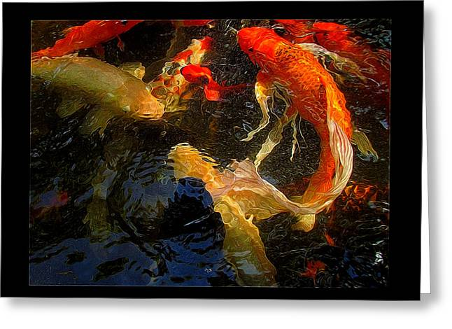 Shannon Story Greeting Cards - Glowing Koi Greeting Card by Shannon Story