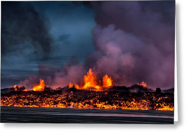 Natural Disaster Greeting Cards - Glowing Lava From The Eruption Greeting Card by Panoramic Images