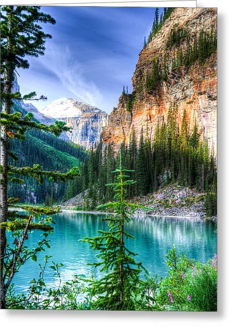 Chasm Lake Greeting Cards - Glowing Mountain Lake Louise Greeting Card by Douglas Barnett
