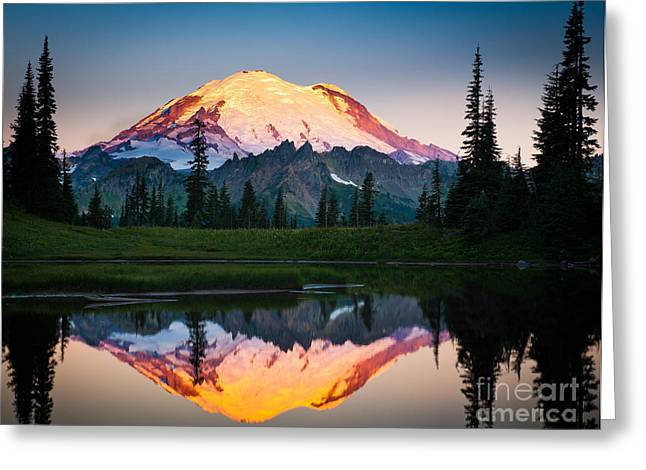 Pacific Northwest Greeting Cards - Glowing Peak Greeting Card by Inge Johnsson