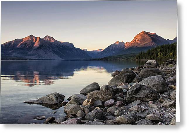 Glowing Peaks On Lake Mcdonald Greeting Card by Jess Williams