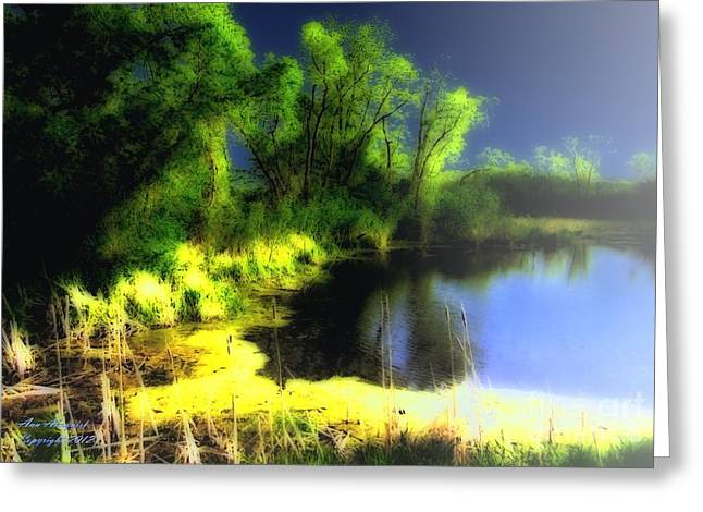 Trees Reflecting In Water Greeting Cards - Glowing Pond on a Foggy Night Greeting Card by Ann Almquist