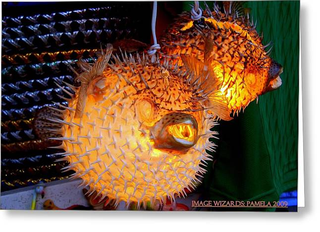 Biological Digital Art Greeting Cards - Glowing Pufferfish Greeting Card by ARTography by Pamela  Smale Williams