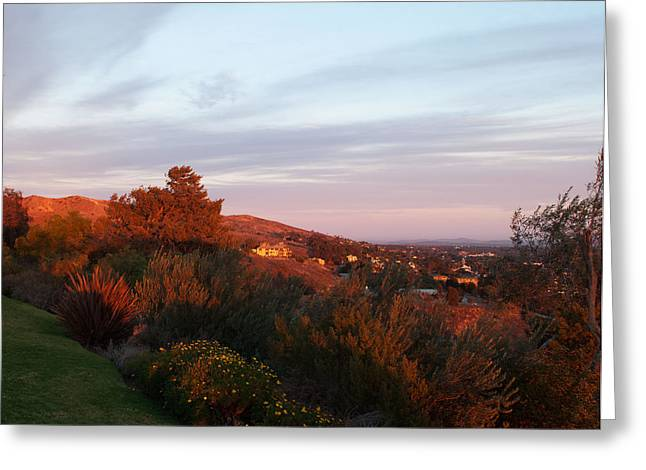 Ventura California Greeting Cards - Glowing purple hillside Greeting Card by Sammy Miller