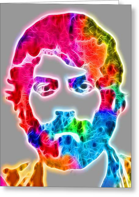 Glowing Mixed Media Greeting Cards - Glowing Ray LaMontagne Greeting Card by Dan Sproul
