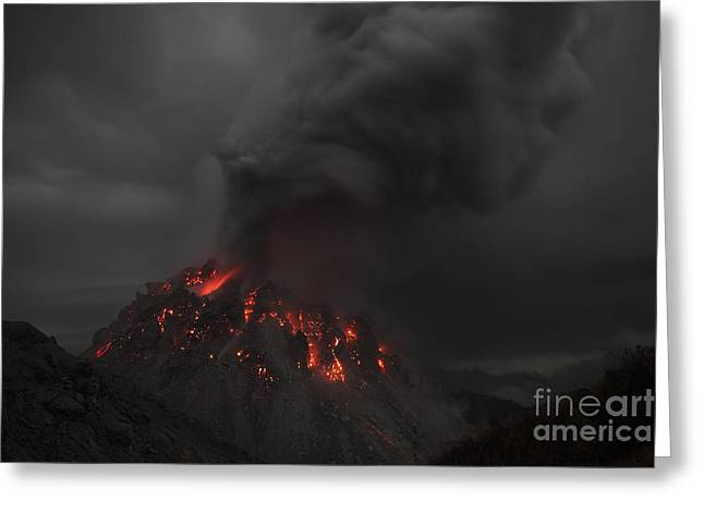 Vulcanology Greeting Cards - Glowing Rerombola Lava Dome Of Paluweh Greeting Card by Richard Roscoe