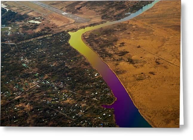 Glowing River. Rainbow Earth Greeting Card by Jenny Rainbow
