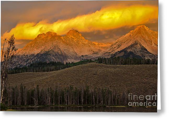 Haybale Greeting Cards - Glowing Sawtooth Mountains Greeting Card by Robert Bales