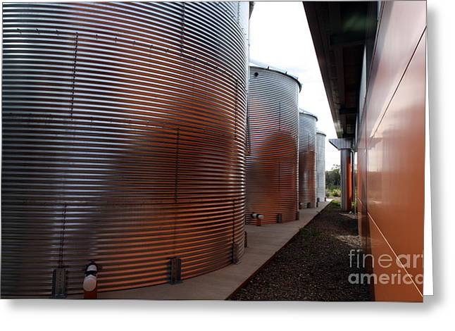 Uc Davis Photographs Greeting Cards - Glowing Silos Greeting Card by Juan Romagosa