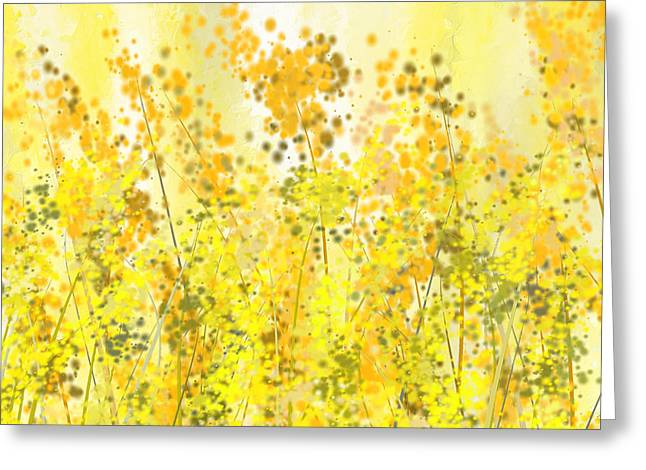 Brown And Green Greeting Cards - Glowing Spring- Yellow Abstract Art Greeting Card by Lourry Legarde