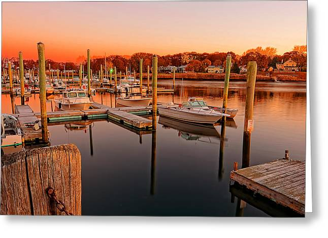 Glowing Start - Rhode Island Marina Sunset Warwick Marina  Greeting Card by Lourry Legarde