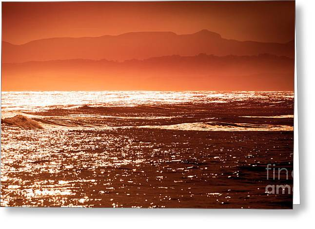 Surf Silhouette Greeting Cards - Glowing Sun Greeting Card by Phill Petrovic