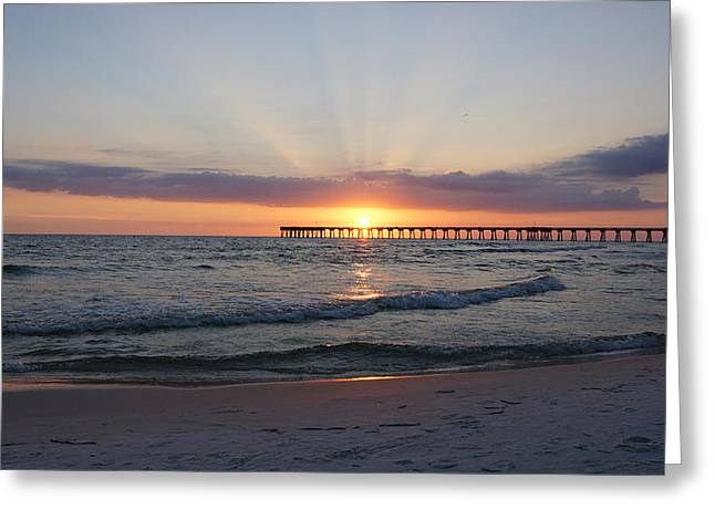 Panama City Beach Fl Greeting Cards - Glowing Sunset Greeting Card by Sandy Keeton
