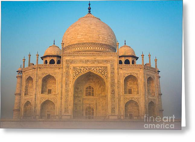 Mausoleum Greeting Cards - Glowing Taj Mahal Greeting Card by Inge Johnsson