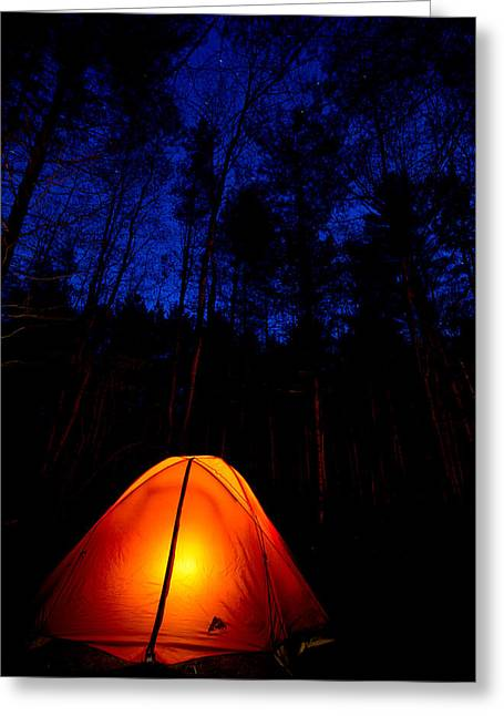 Camping Greeting Cards - Glowing Tent Greeting Card by Cale Best