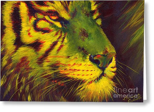 Summer Celeste Greeting Cards - Glowing Tiger Greeting Card by Summer Celeste