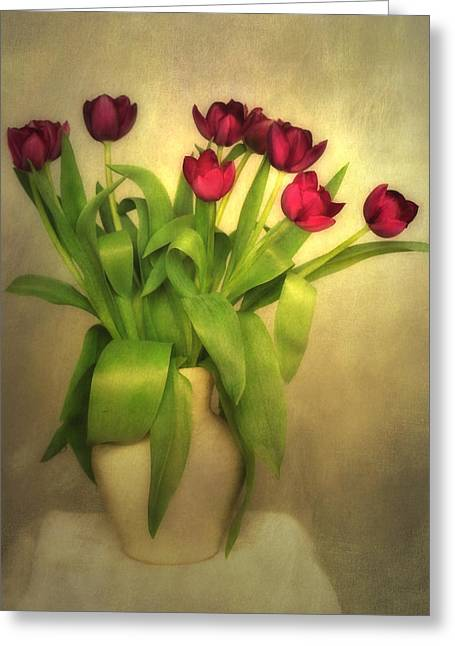 Glowing Tulips Greeting Card by Annie Snel