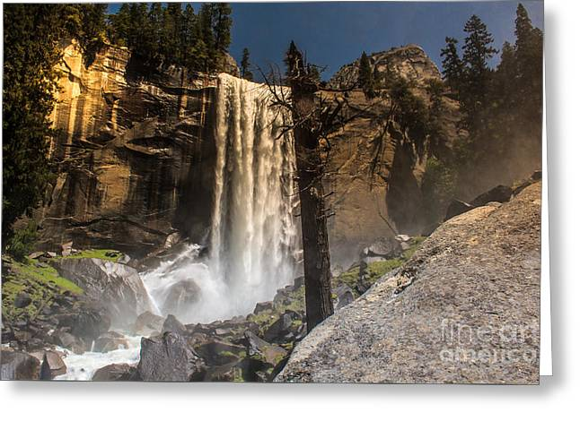 Shower Curtain Greeting Cards - Glowing Vernal Fall Yosemite Np  Greeting Card by  ILONA ANITA TIGGES - GOETZE  ART and Photography