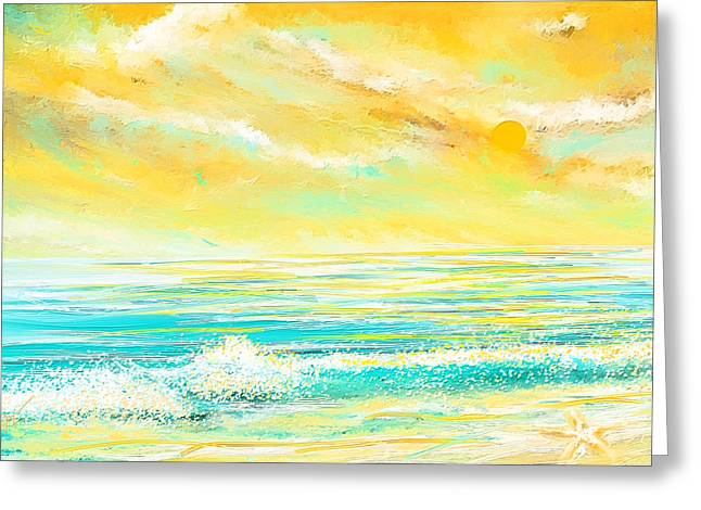Best Sellers -  - Green And Yellow Abstract Greeting Cards - Glowing Waves - Seascapes Sunset Abstract Greeting Card by Lourry Legarde
