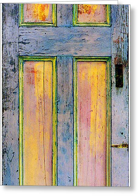 Recently Sold -  - Print Sculptures Greeting Cards - GlowingThrough Painted Door Greeting Card by Asha Carolyn Young