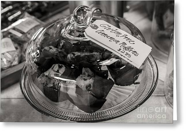 Commercial Photography Greeting Cards - Gluten Free Muffins in Black and white Greeting Card by Iris Richardson