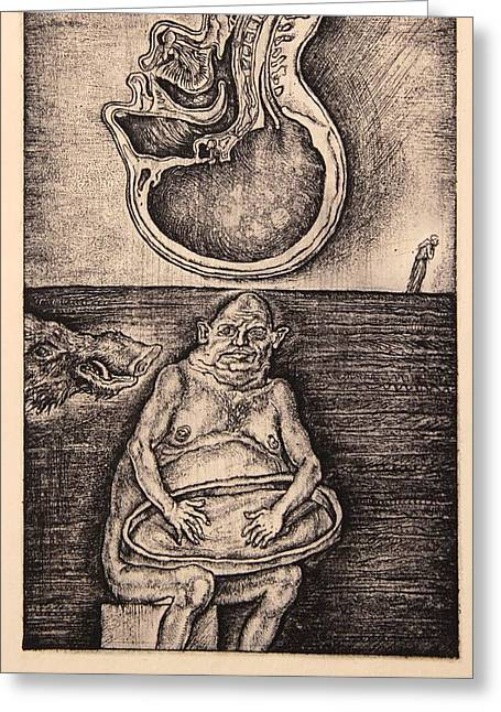 Drypoint Greeting Cards - Gluttony. Series Seven Deadly Sins Greeting Card by Leonid Stroganov