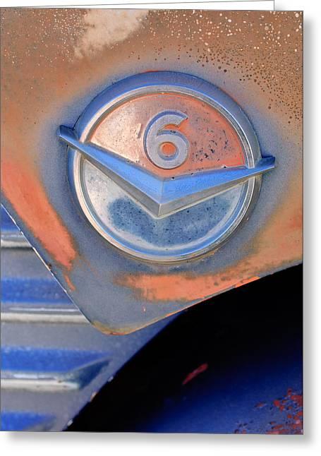 Gmc Greeting Cards - GMC 4000 V6 Pickup Truck Emblem Greeting Card by Jill Reger