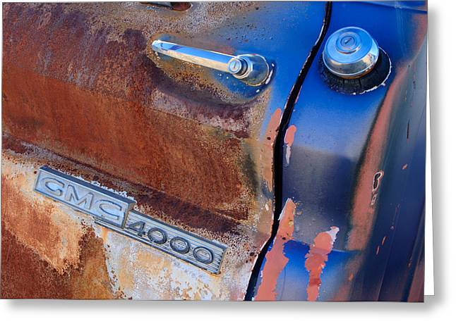 Classic Pickup Greeting Cards - GMC 4000 V6 Pickup Truck Side Emblem - Door Handle Greeting Card by Jill Reger